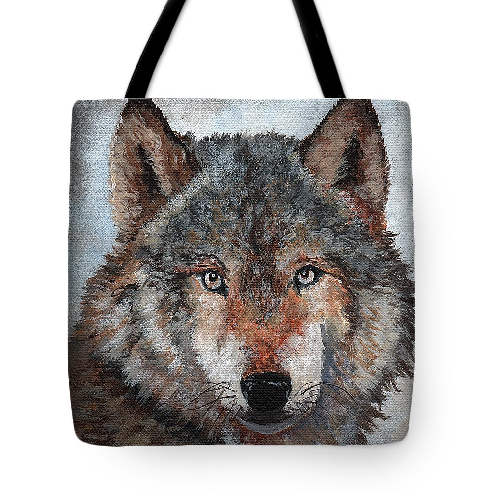 Timithy Tote Bag featuring the painting Gray Wolf by Timithy L Gordon