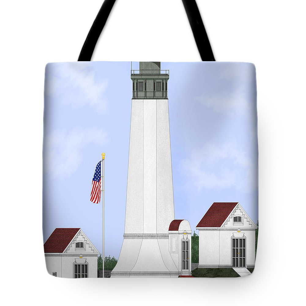 Lighthouse Tote Bag featuring the painting Grays Harbor Light Station Historic View by Anne Norskog