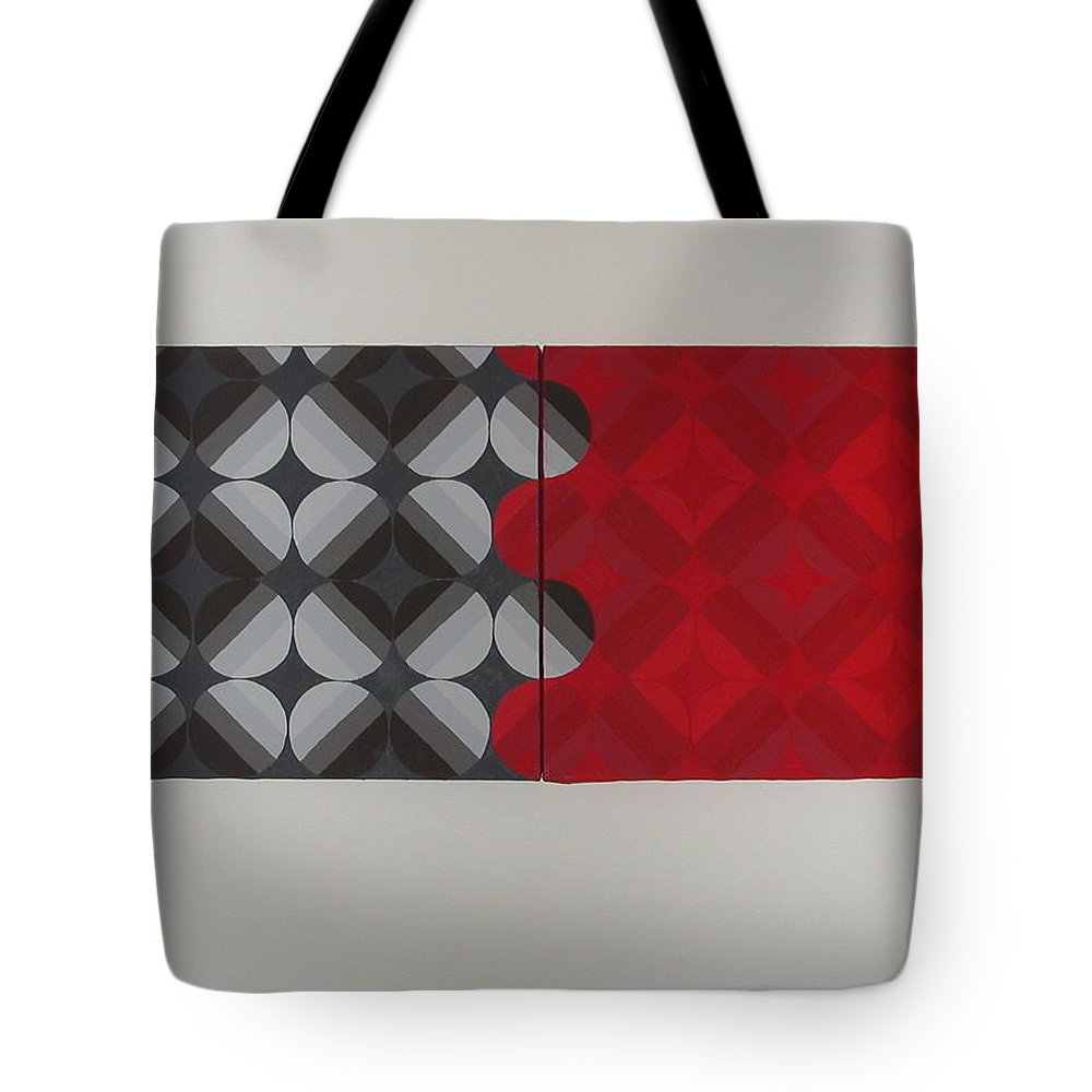 Red Circles Tote Bag featuring the painting Gray's Red Anatomy by Gay Dallek