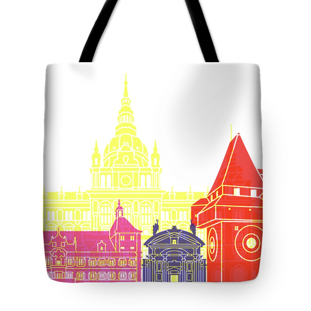 Graz Tote Bag featuring the painting Graz Skyline Pop by Pablo Romero