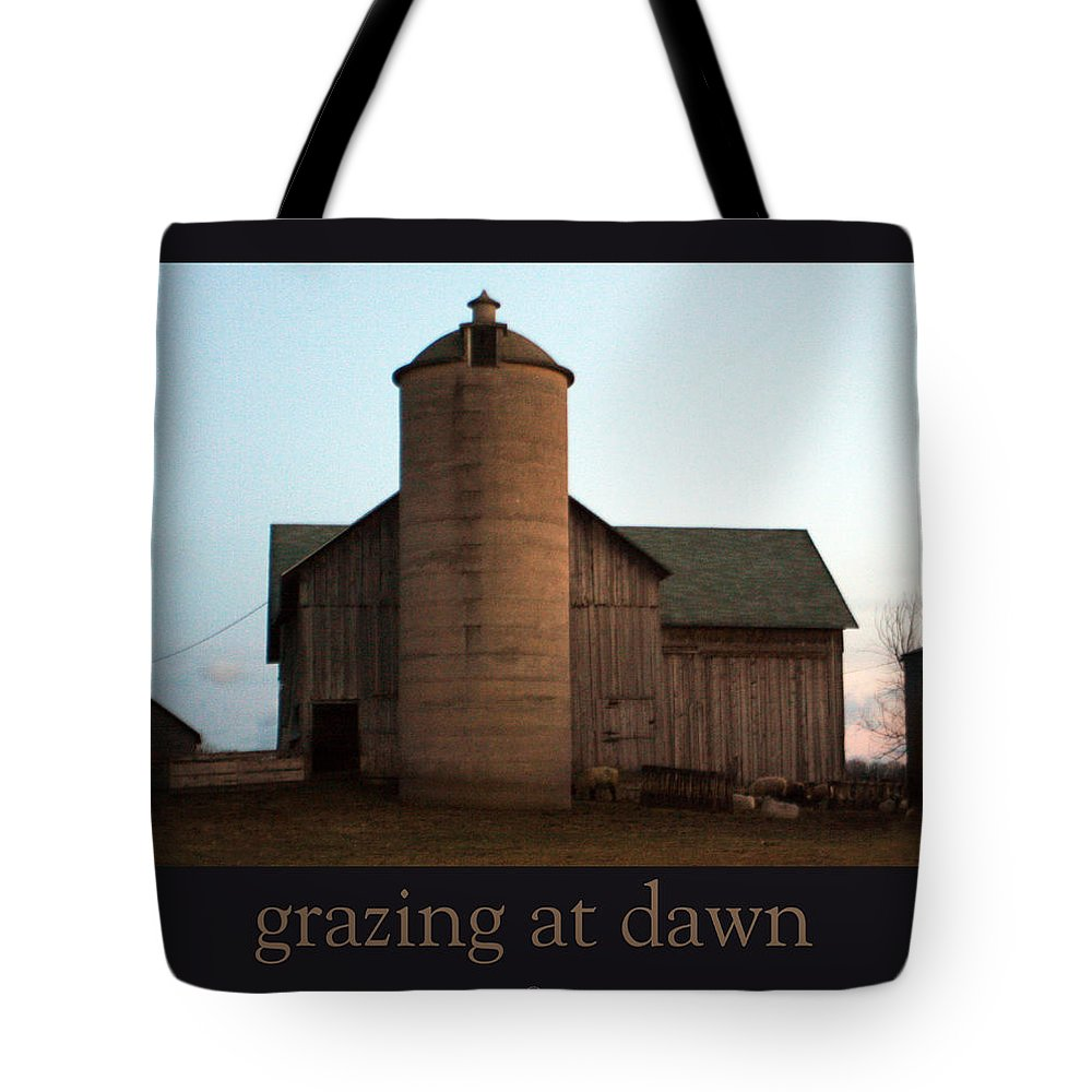 Barn Tote Bag featuring the photograph Grazing At Dawn by Tim Nyberg