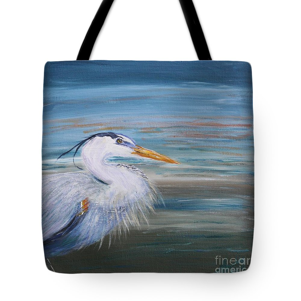 Great Blue Heron Tote Bag featuring the painting Great Blue Heron by Amelia Hollins