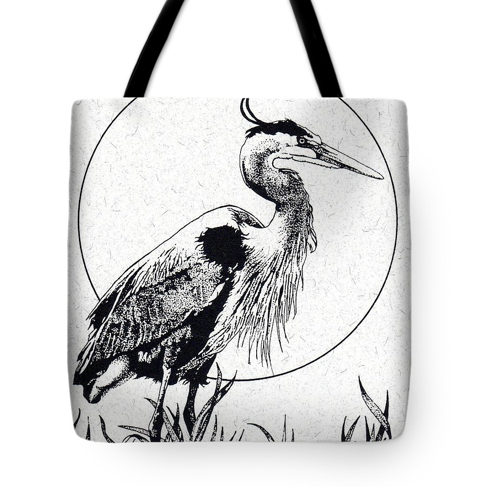 Great Blue Heron Tote Bag featuring the drawing Great Blue Heron by Donald Aday