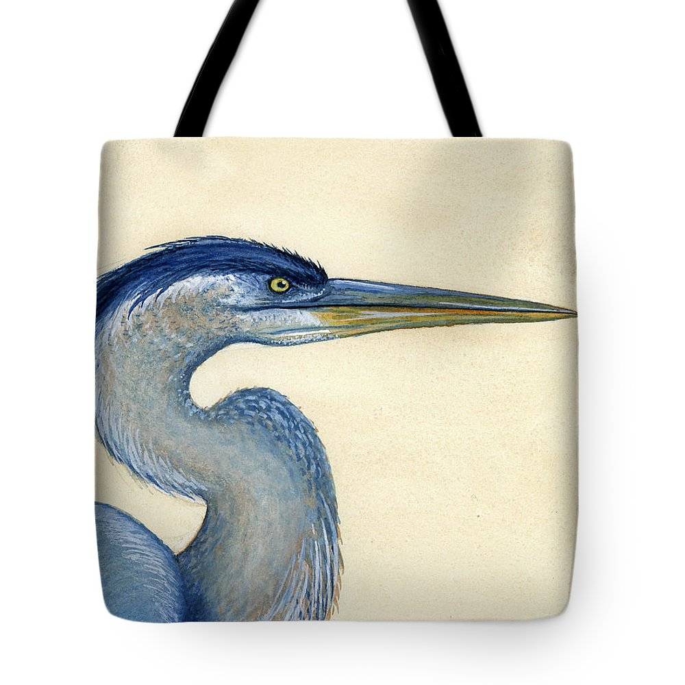 Great Tote Bag featuring the painting Great Blue Heron Portrait by Charles Harden