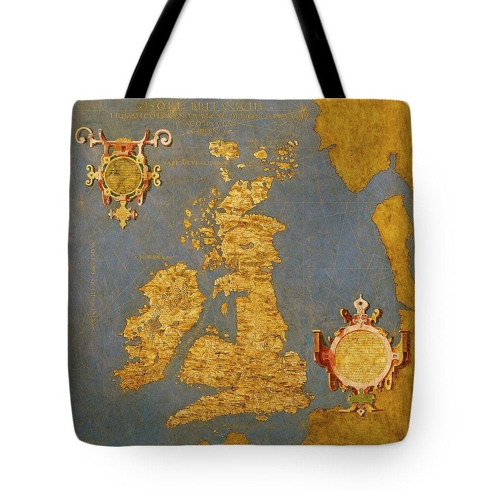 Map Tote Bag featuring the painting Great Bretain And Ireland by Italian painter of the 16th century