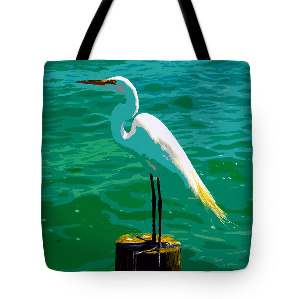Great Egret Tote Bag featuring the painting Great Egret Emerald Sea by David Lee Thompson