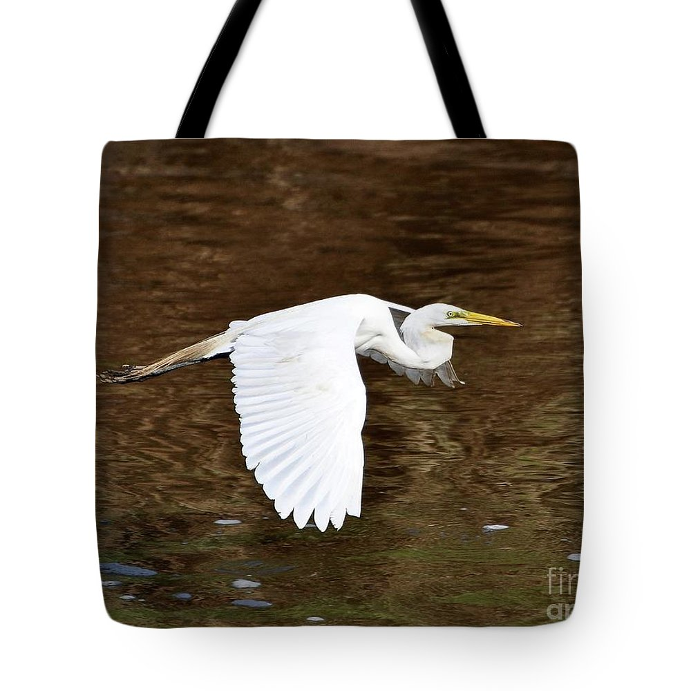 Great Egret Tote Bag featuring the photograph Great Egret In Flight by Al Powell Photography USA