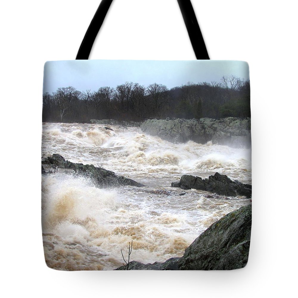 Potomac River Tote Bag featuring the photograph Great Falls Torrent by Joshua Bales