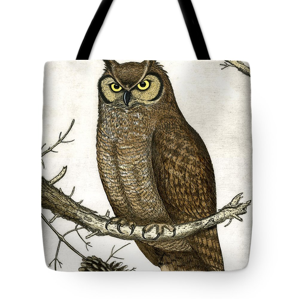 Etching Tote Bag featuring the painting Great Horned Owl by Charles Harden