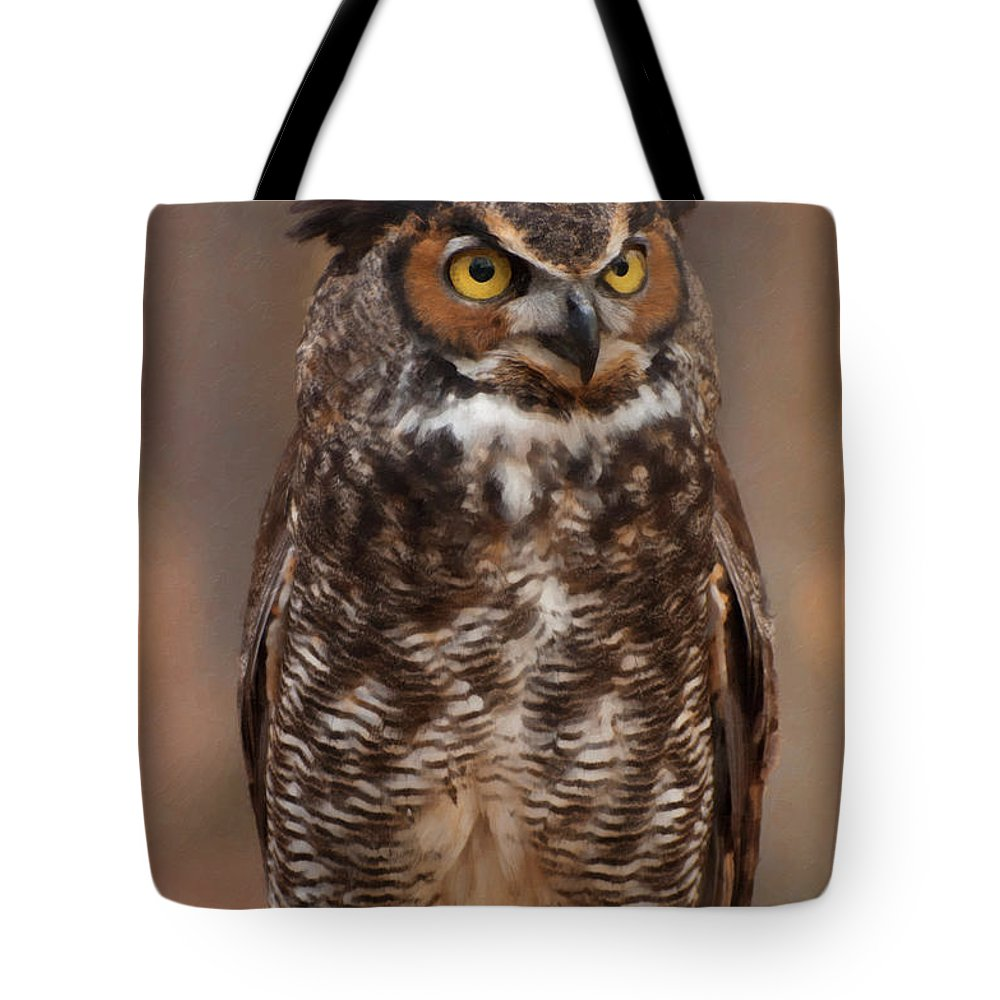 Great Horned Owl Tote Bag featuring the digital art Great Horned Owl Digital Oil by Chris Flees