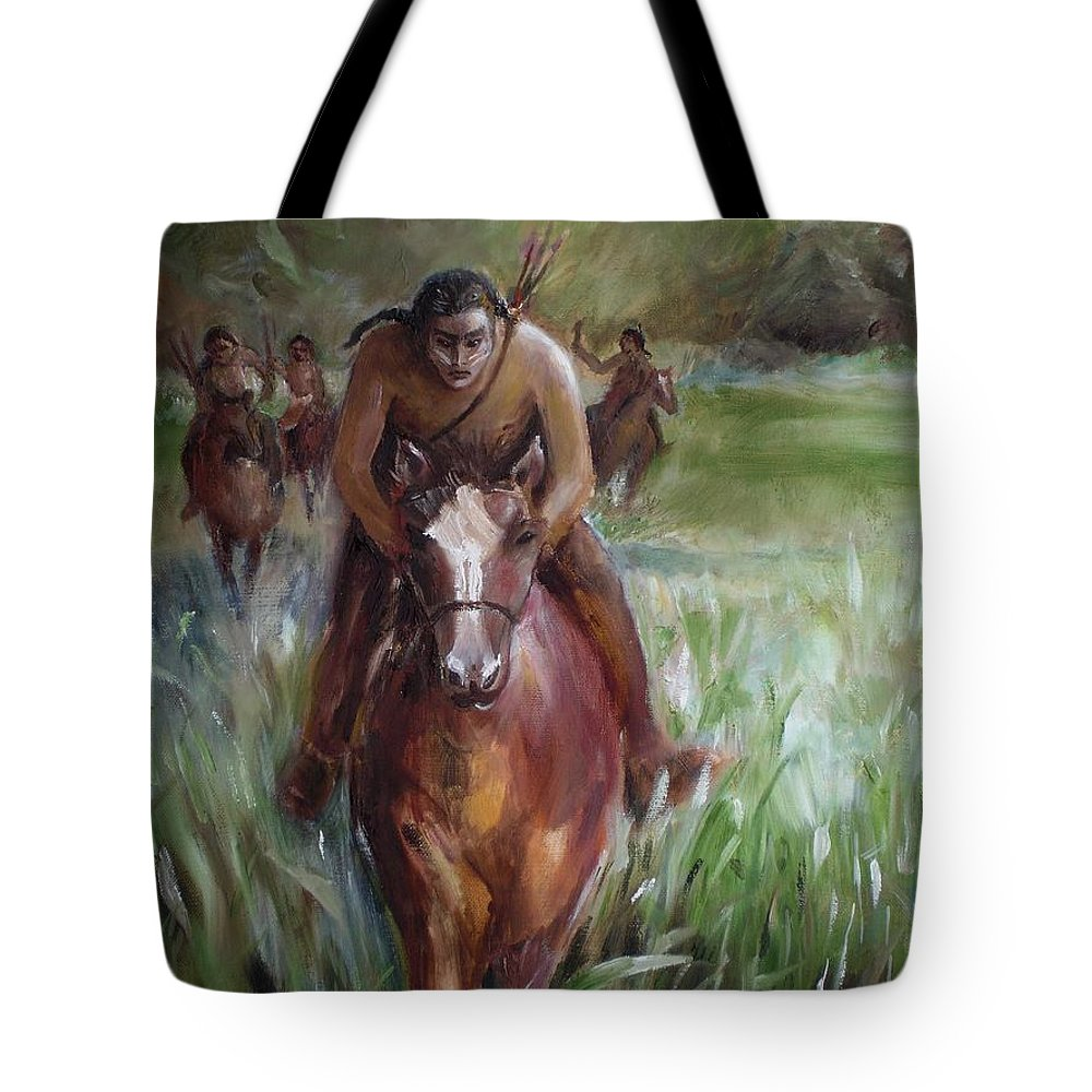 Horse Tote Bag featuring the painting Great Valley Run by Jun Jamosmos