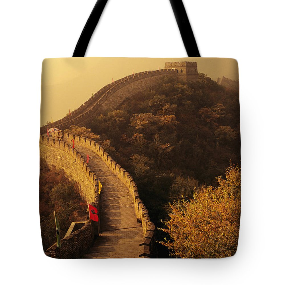 Afar Tote Bag featuring the photograph Great Wall In The Mist by Gloria & Richard Maschmeyer - Printscapes