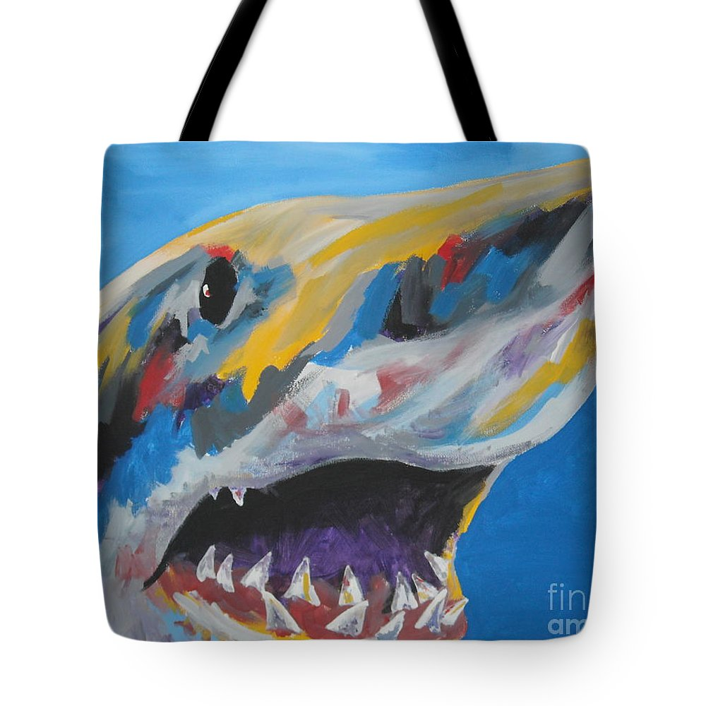 Shark Tote Bag featuring the painting Great White by Caroline Davis