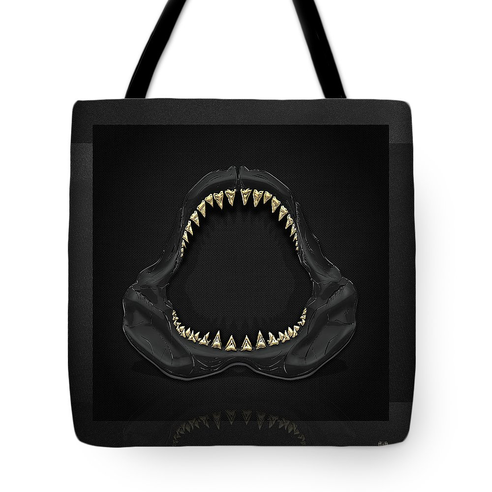 �black On Black� Collection By Serge Averbukh Tote Bag featuring the photograph Great White Shark Jaws with Gold Teeth by Serge Averbukh