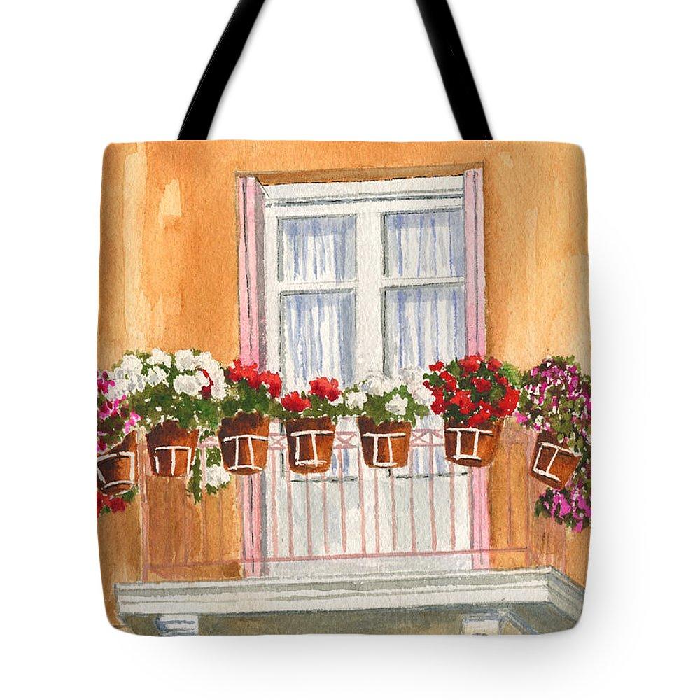 Greece Tote Bag featuring the painting Grecian Balcony by Marsha Elliott