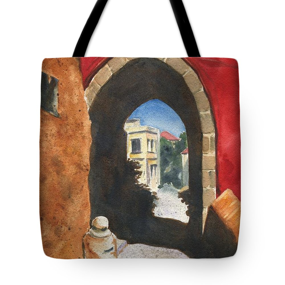 Ancient Tote Bag featuring the painting Grecian Passageway by Marsha Elliott
