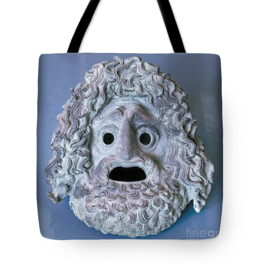 Ancient Tote Bag featuring the photograph Greece: Theatrical Mask by Granger