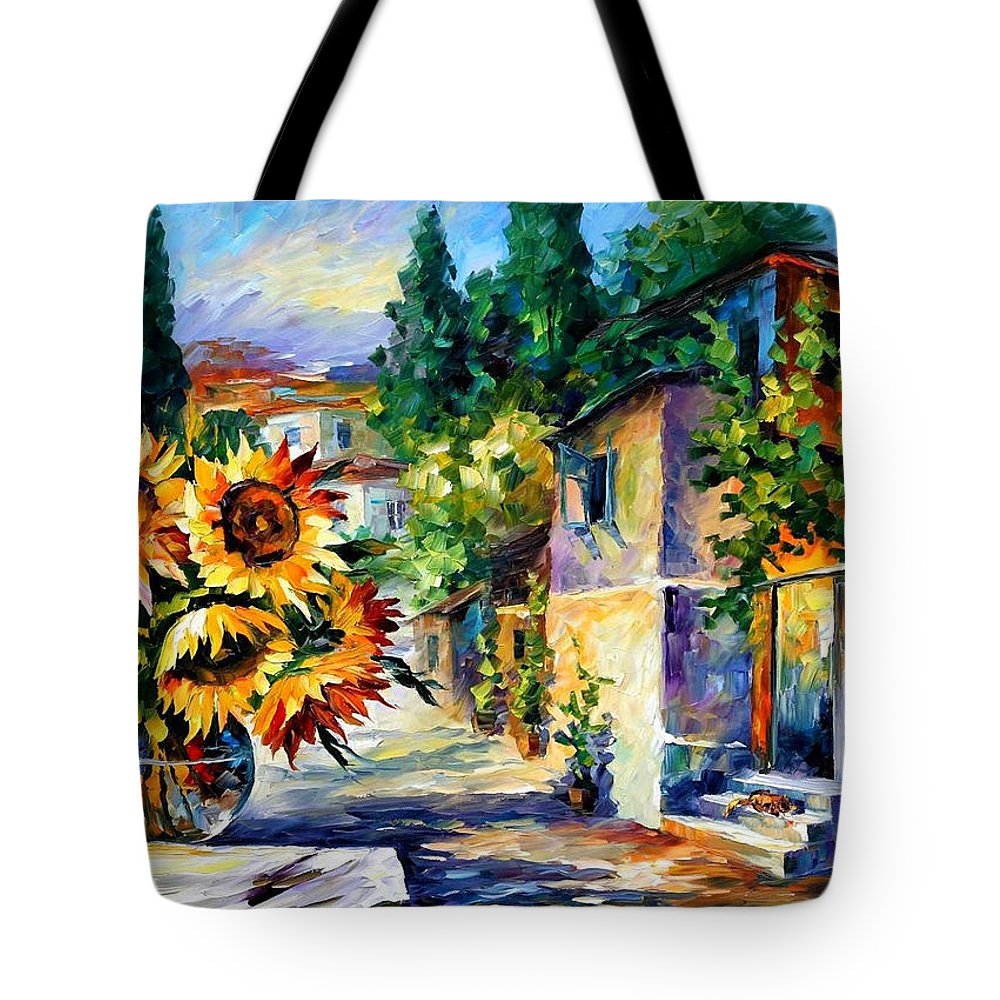 Art Gallery Tote Bag featuring the painting Greek Noon - Palette Knife Oil Painting On Canvas By Leonid Afremov by Leonid Afremov