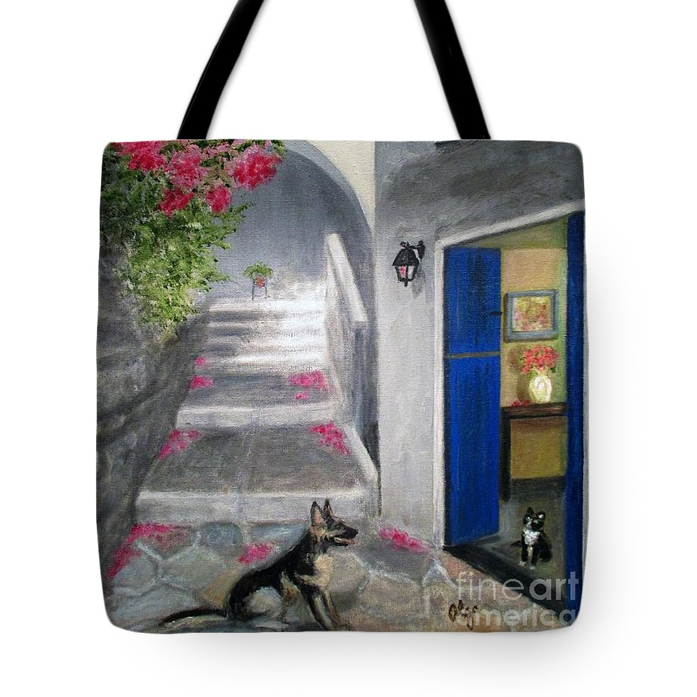 Pink Flowers Tote Bag featuring the painting Greek Pink Flowers by Olga Silverman
