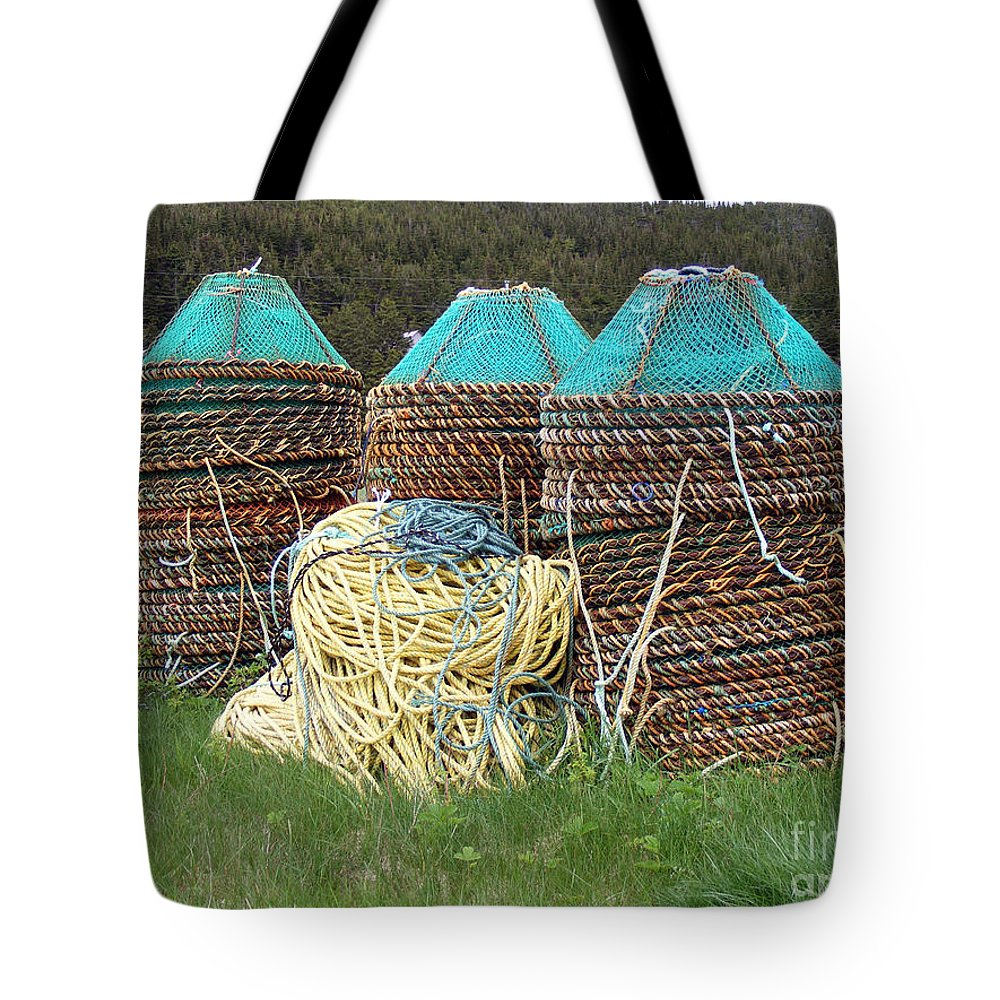 East Coast Crab Pots Tote Bag featuring the photograph Green - Crab Pots by Barbara Griffin