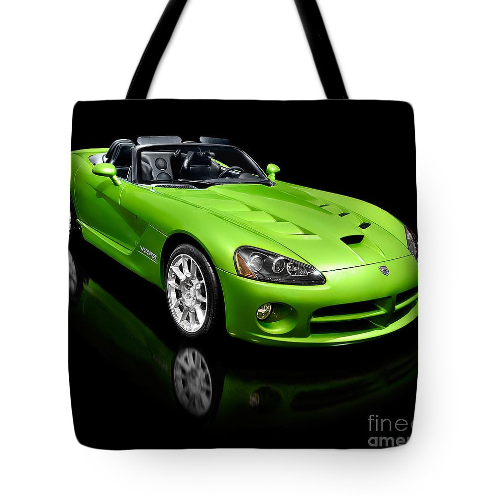 Dodge Viper Tote Bag featuring the photograph Green 2008 Dodge Viper Srt10 Roadster by Oleksiy Maksymenko
