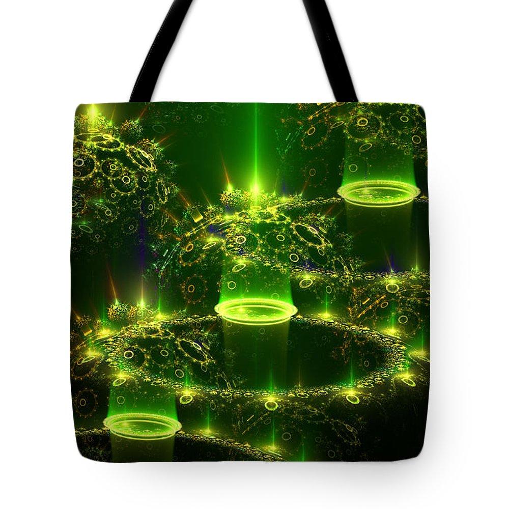 Elena Riim Tote Bag featuring the digital art Green Abstraction by Elena Riim
