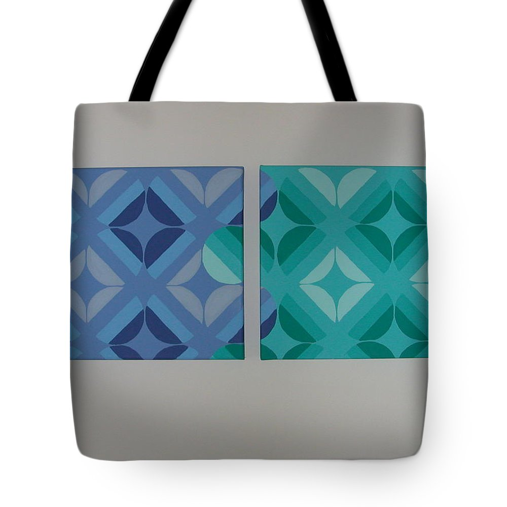 Two Piece Painting Tote Bag featuring the painting Green And Blue With Envy by Gay Dallek