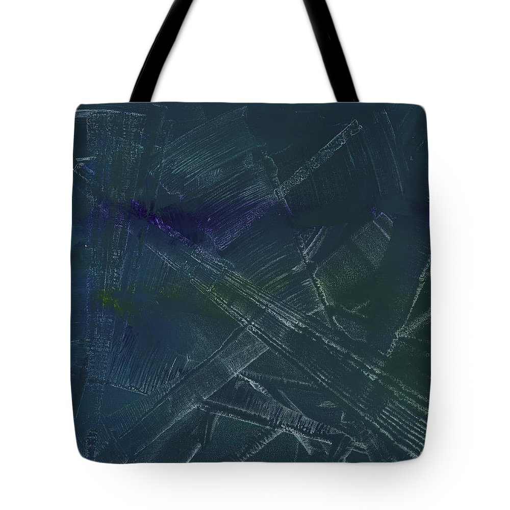 Abstract Tote Bag featuring the painting Green And Purple Fan by Matthew Hahn