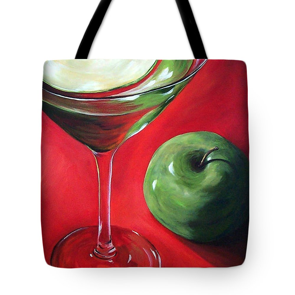 Martini Tote Bag featuring the painting Green Apple Martini by Torrie Smiley