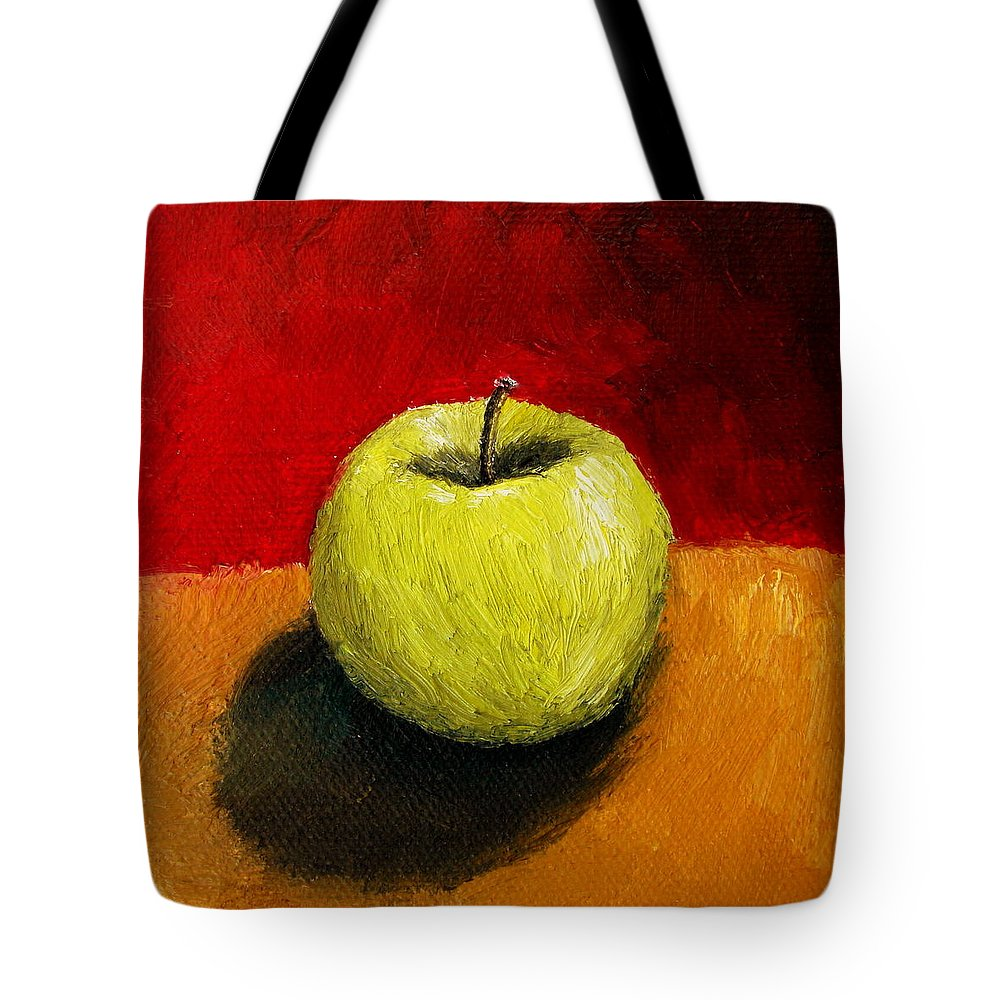Apple Tote Bag featuring the painting Green Apple With Red And Gold by Michelle Calkins