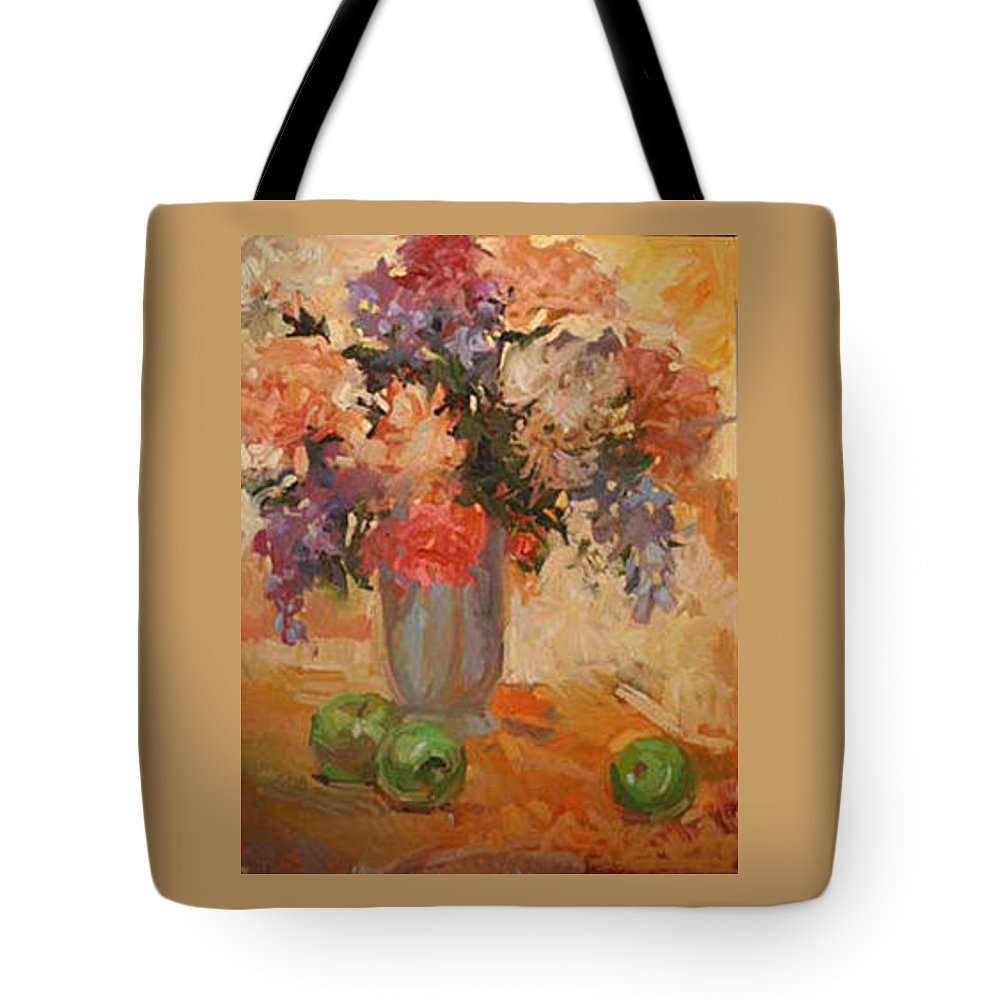 Still Life Tote Bag featuring the painting Green Apples by Betty Jean Billups