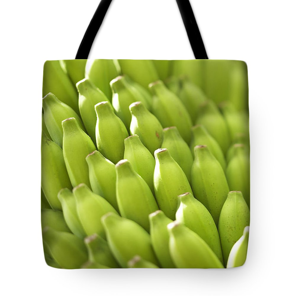 Agriculture Tote Bag featuring the photograph Green Banana Bunch by Kyle Rothenborg - Printscapes
