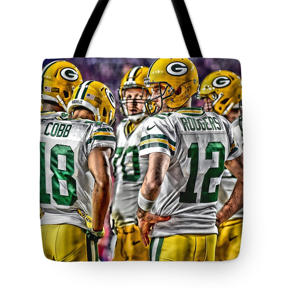 Packers Tote Bag featuring the mixed media Green Bay Packers Team Art 2 by Joe Hamilton