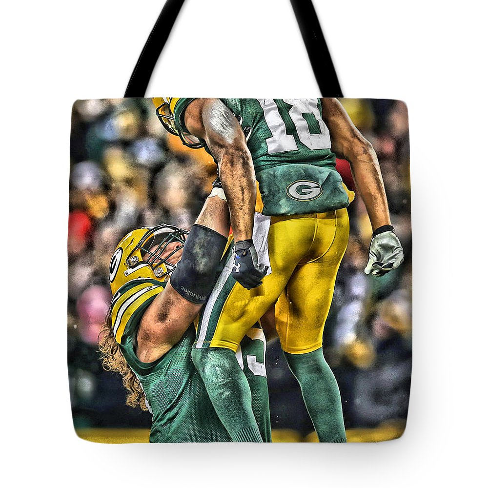 Packers Tote Bag featuring the mixed media Green Bay Packers Team Art by Joe Hamilton