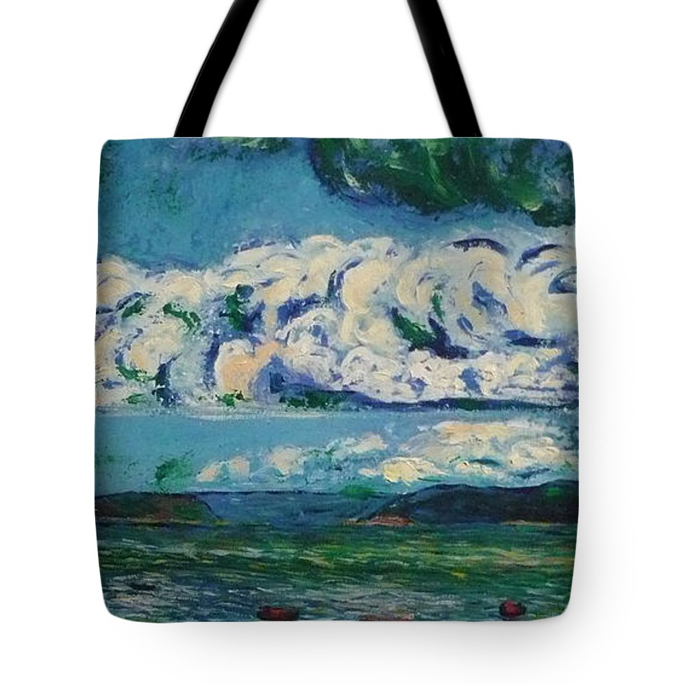 Landscape Tote Bag featuring the painting Green Beach by Ericka Herazo
