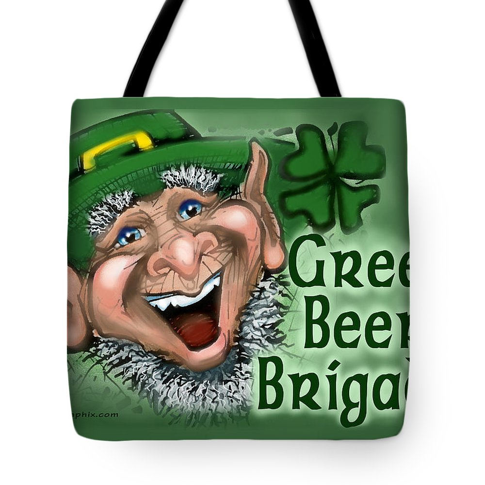 Green Beer Tote Bag featuring the greeting card Green Beer Brigade by Kevin Middleton