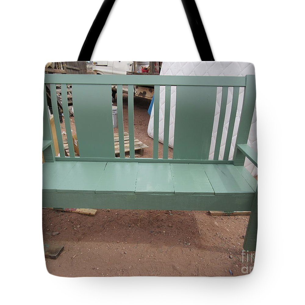 Green Tote Bag featuring the photograph Green Bench by Frederick Holiday