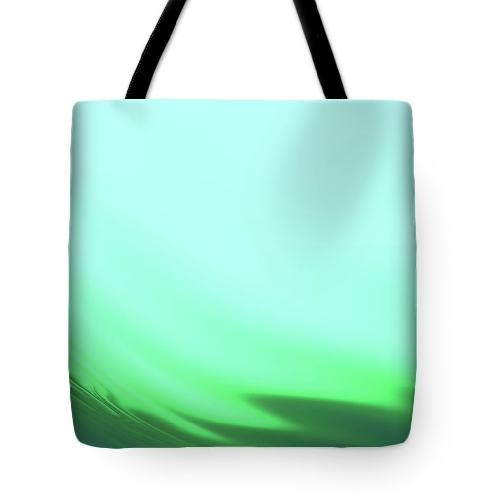 Abstract Tote Bag featuring the digital art Green Blue Waves by Rich Leighton