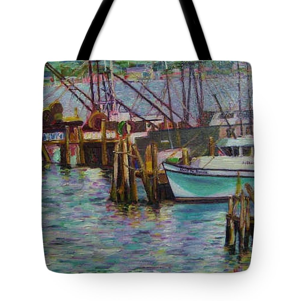 Boat Tote Bag featuring the painting Green Boat At Rest- Nova Scotia by Richard Nowak