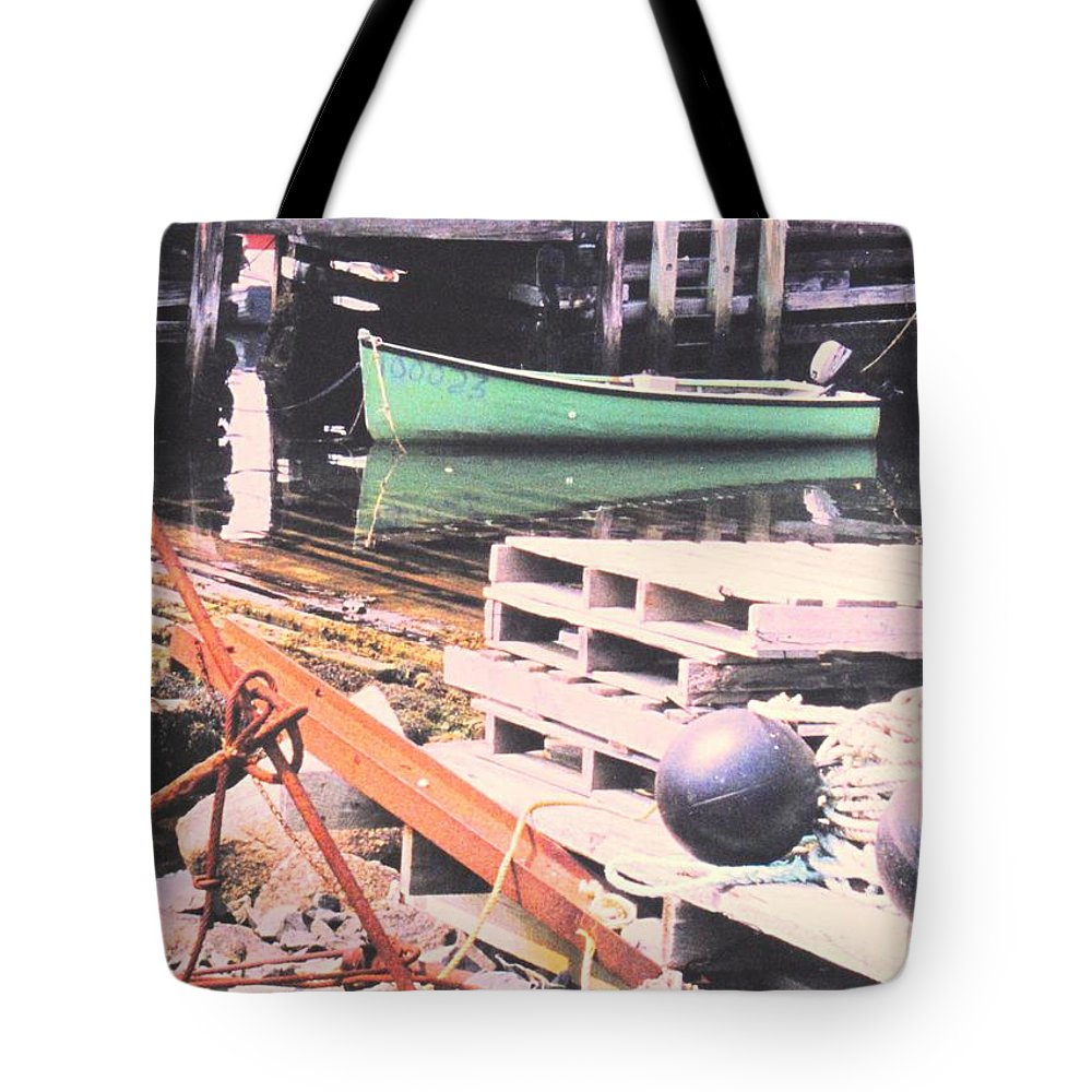Green Tote Bag featuring the photograph Green Boat by Ian MacDonald