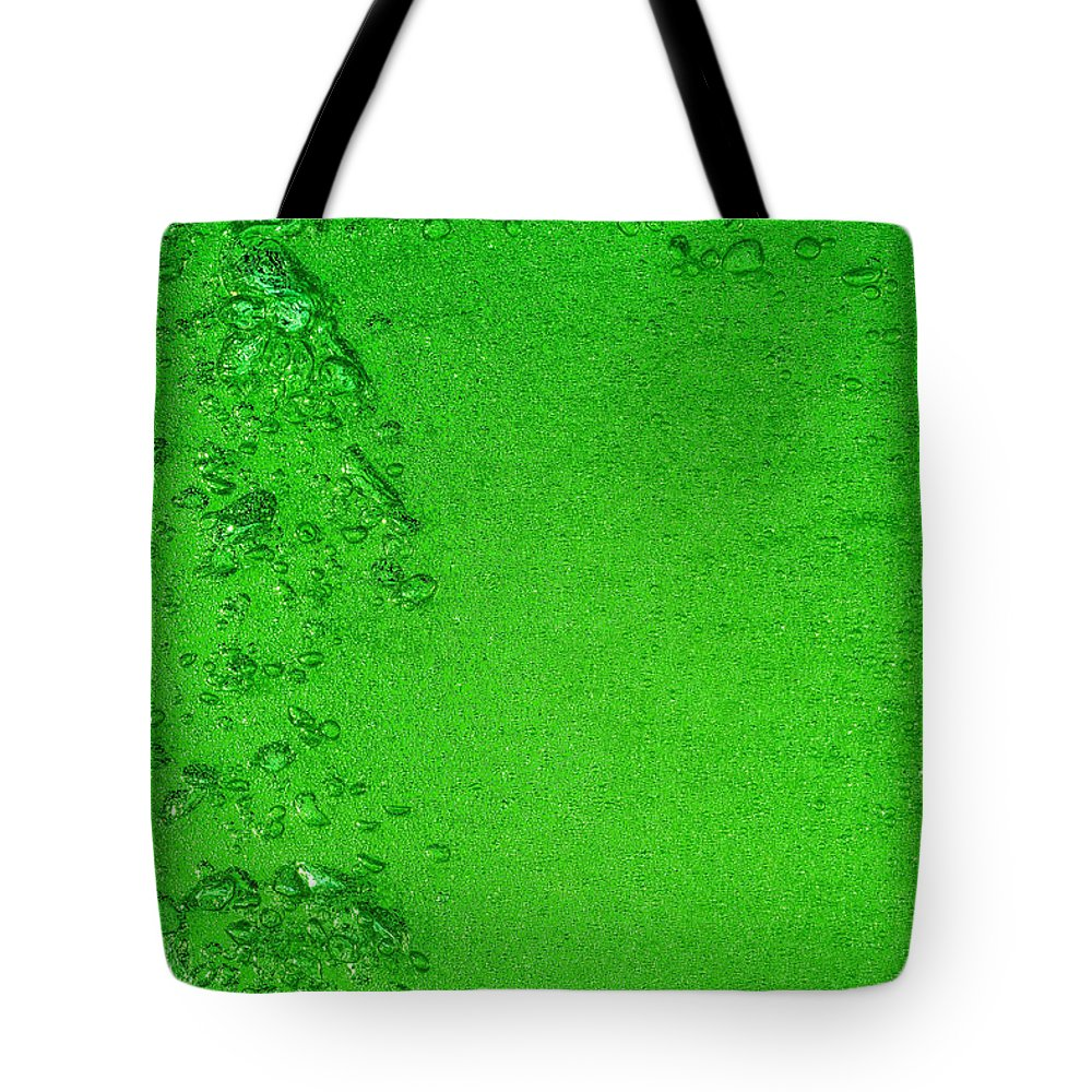 Water Tote Bag featuring the photograph Green Bubbles 2 by Steve Gadomski