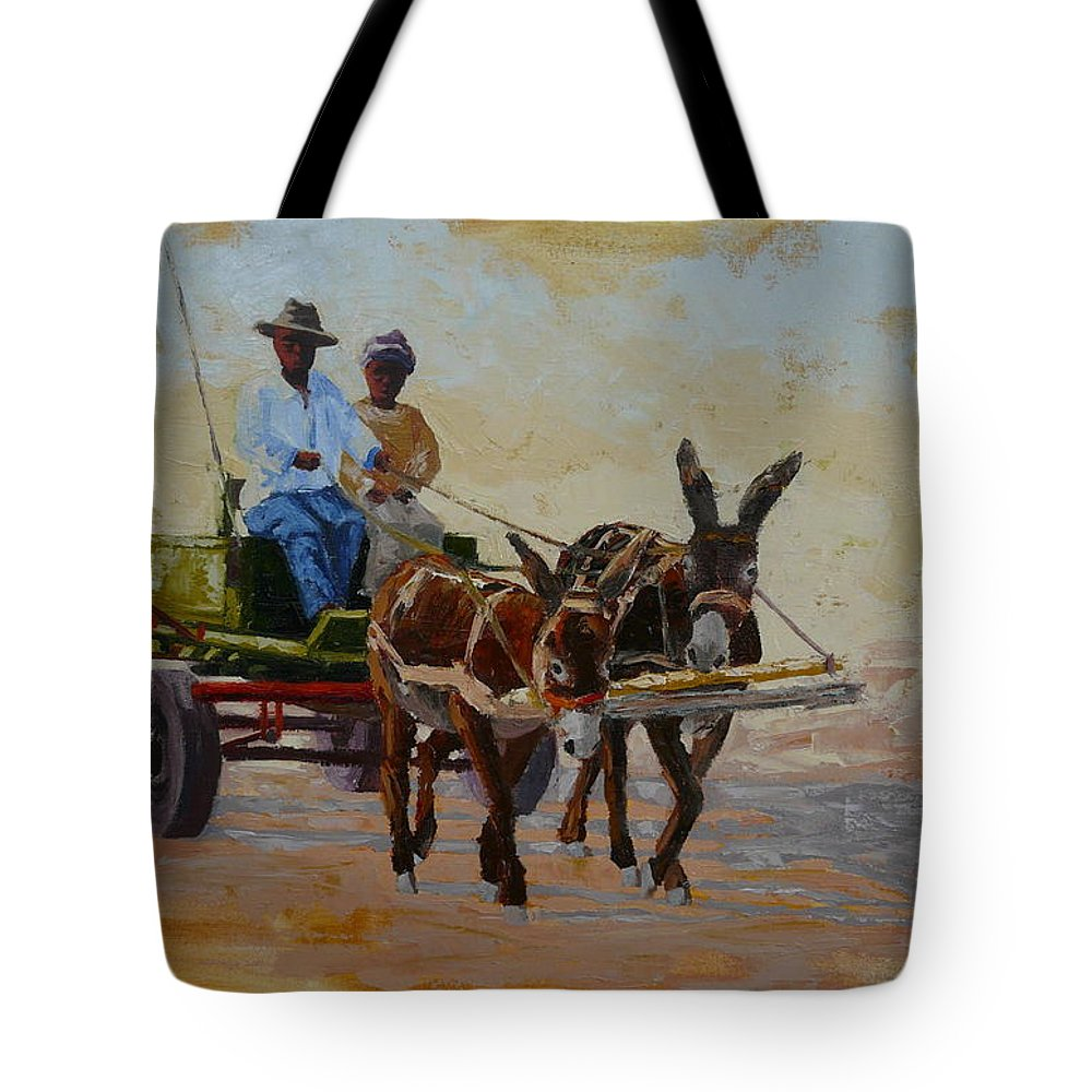 Landscape Tote Bag featuring the painting Green Cart by Yvonne Ankerman