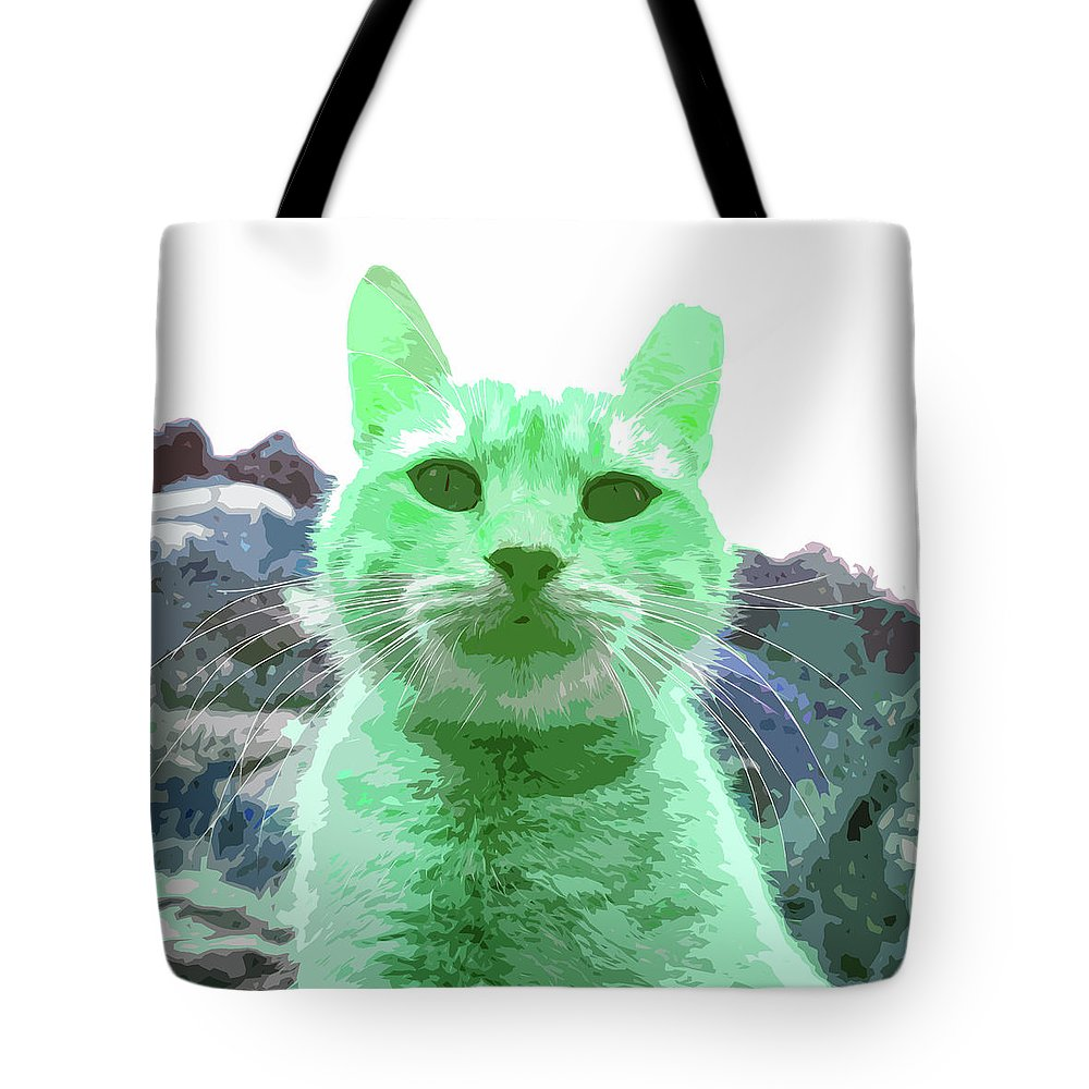 Green Cat Tote Bag featuring the photograph Green Cat by James Hill
