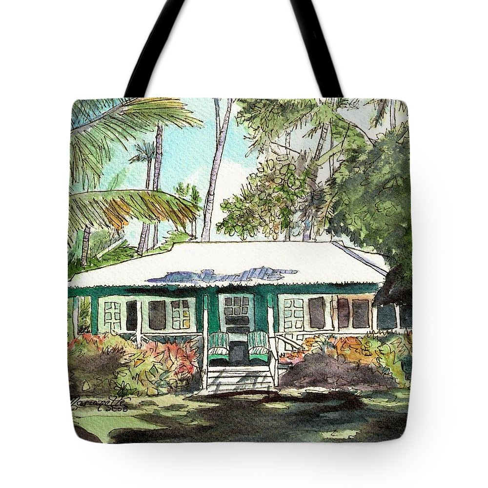 Cottage Tote Bag featuring the painting Green Cottage by Marionette Taboniar