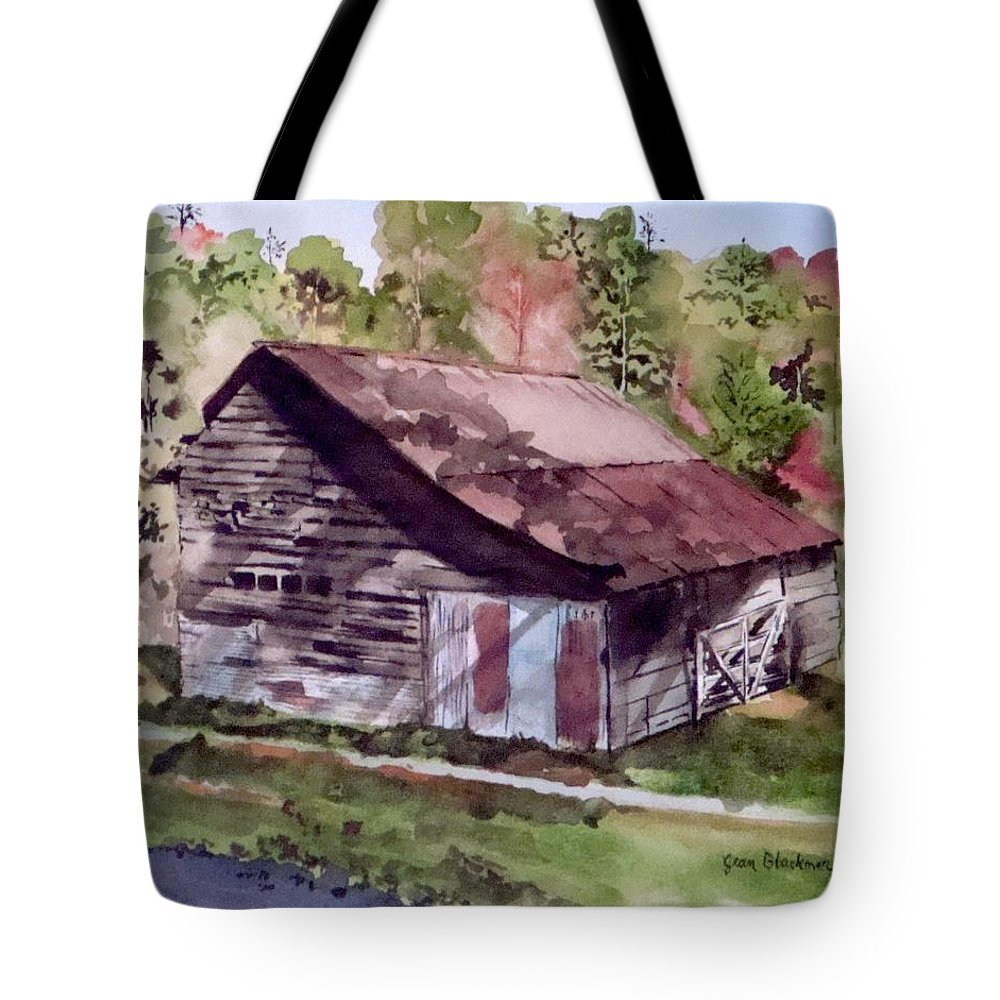 Barns Tote Bag featuring the painting Green Creek Barn by Jean Blackmer