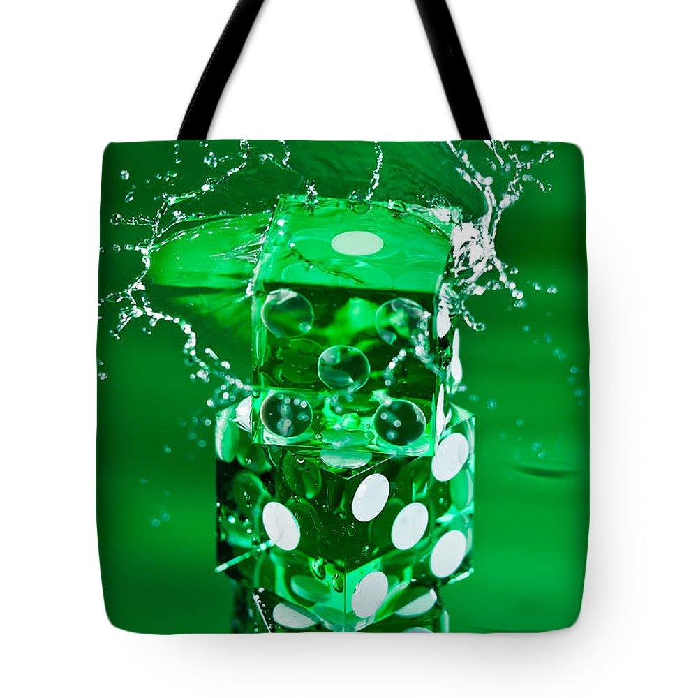 Dice Tote Bag featuring the photograph Green Dice Splash by Steve Gadomski