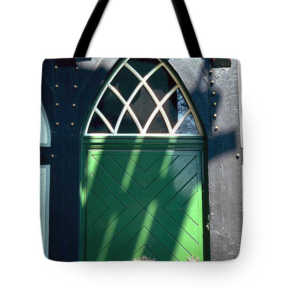 Green Tote Bag featuring the photograph Green Door by Flavia Westerwelle