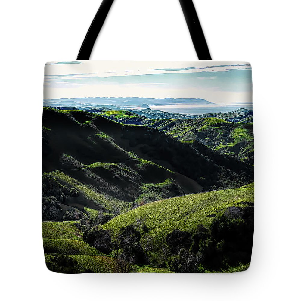 Ocean View Tote Bag featuring the photograph Green Fields by Robert Ardito
