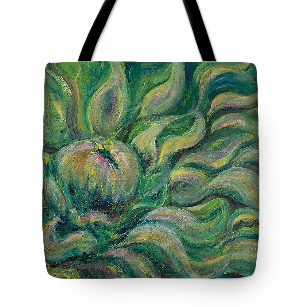 Green Tote Bag featuring the painting Green Flowing Flower by Nadine Rippelmeyer