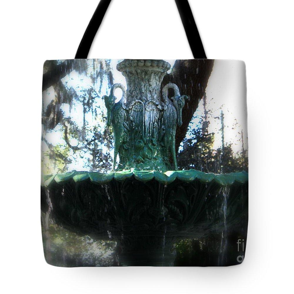 Savannah Tote Bag featuring the photograph Green Fountain by Carol Groenen